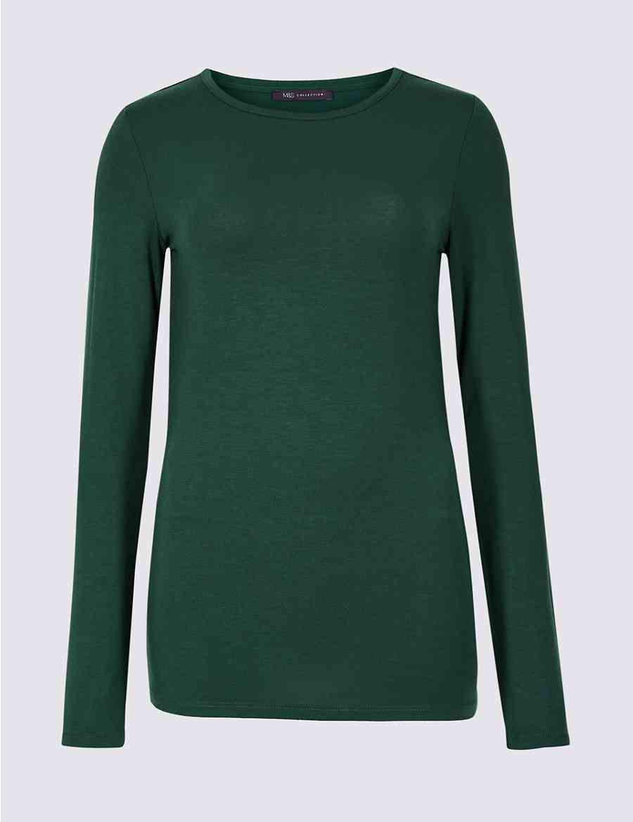 6ff04873dc242 Modal Rich Round Neck Long Sleeve T-Shirt