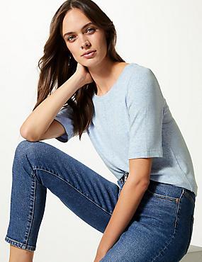 Textured Round Neck Short Sleeve T-Shirt