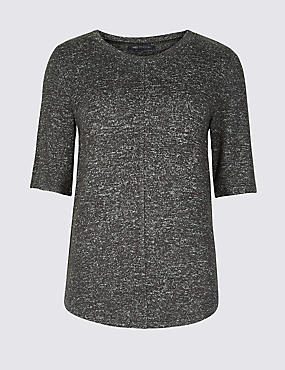 Textured Round Neck Short Sleeve T-Shirt