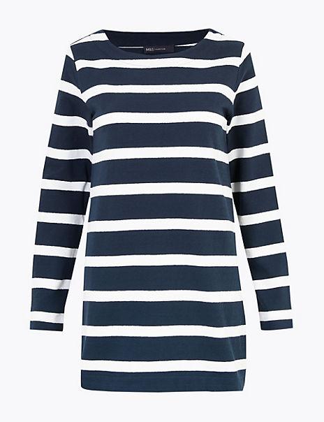 Pure Cotton Striped Longline Tunic
