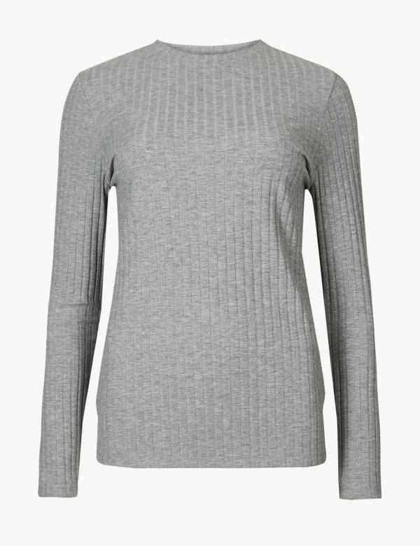 Textured Long Sleeve T-Shirt. M S Collection 87d439662e1