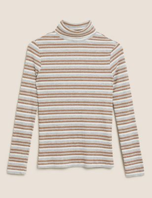 Sparkly Striped Funnel Neck Fitted Top