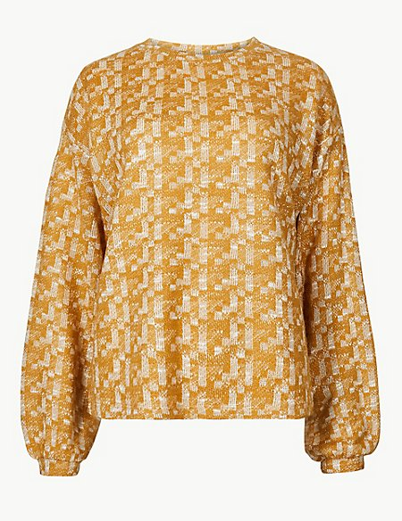 Textured Round Neck Long Sleeve Sweatshirt