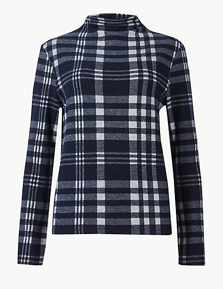 Checked High Neck Long Sleeve Sweatshirt