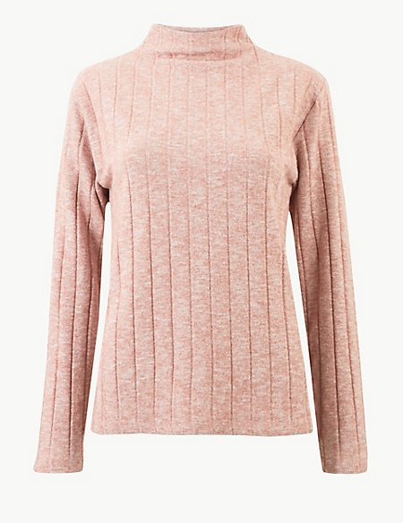 Textured High Neck Long Sleeve Sweatshirt