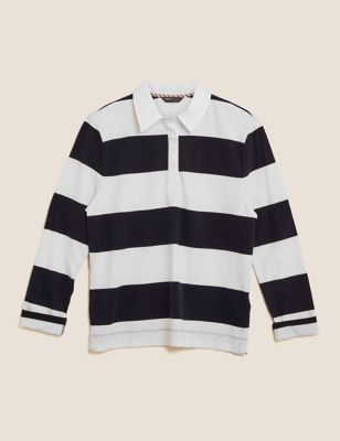 Pure Cotton Rugby Striped Straight Fit Top