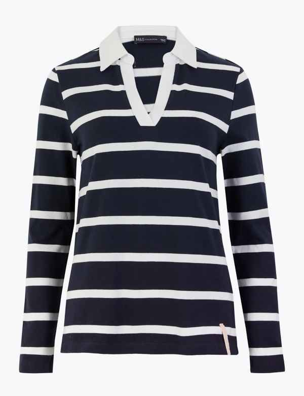 M/&S Cotton Blend White Red Striped Long Sleeve Top Tee T shirt 8 10 12 14 16 18