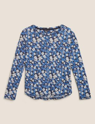 Linen Floral Straight Fit Long Sleeve Top