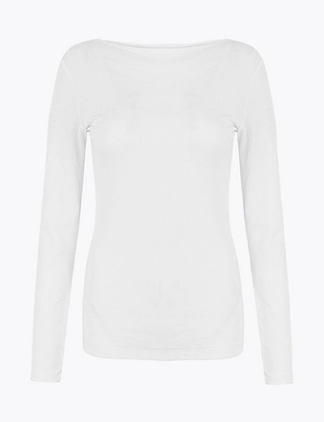 Cotton Rich Slash Neck Long Sleeve Top