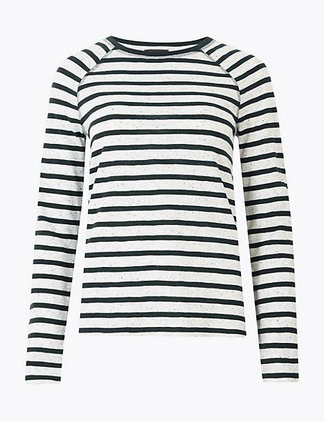 Cotton Raglan Striped Straight Fit Top