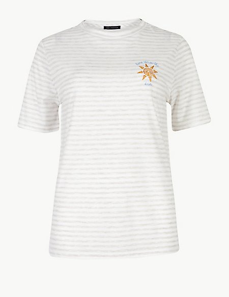 Striped Round Neck Embroidered Motif T-Shirt