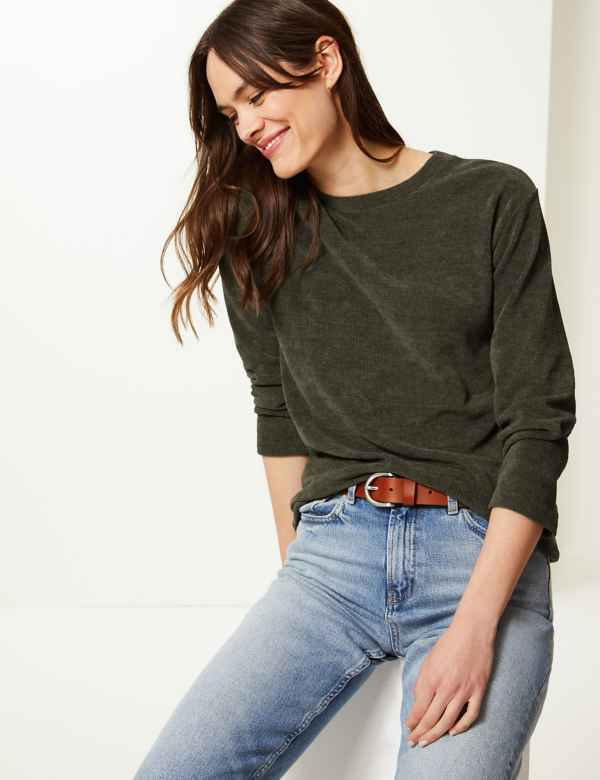 aead554c526 Textured Round Neck Long Sleeve Sweatshirt