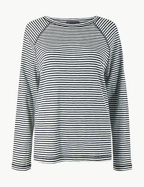 Cotton Rich Striped Regular Fit Top