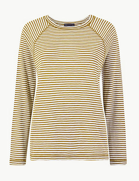 Cotton Rich Striped Regular Fit Top