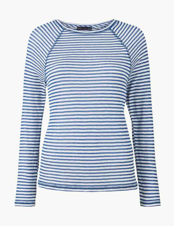9ad22cc1522 Striped Round Neck Long Sleeve Top. New Lower Price