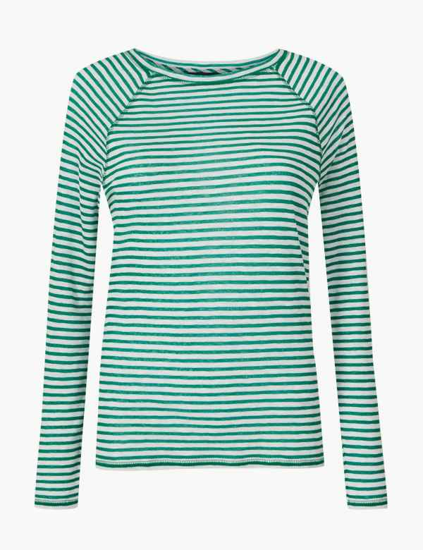 11c61c77910 Striped Round Neck Long Sleeve Top