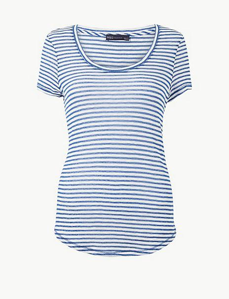 Cotton Rich Striped Regular Fit T-Shirt