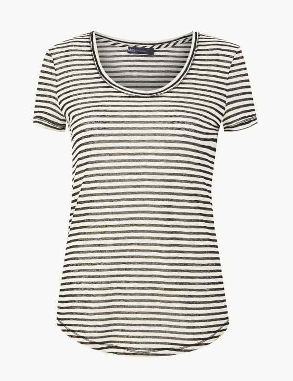 be348b08aa81 Cotton Rich Striped T-Shirt. New. M S Collection
