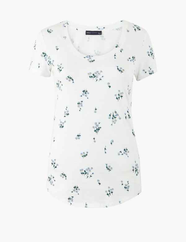 9820ee0479 Pure Cotton Floral Print T-Shirt