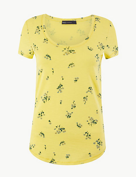 Pure Cotton Floral Print Regular Fit T-Shirt