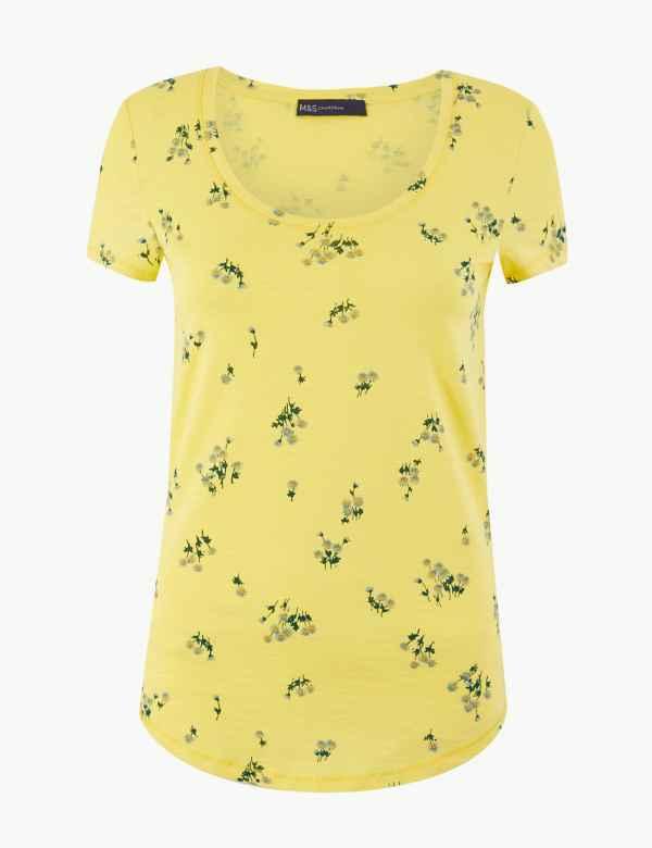 c1bd83be504f9 Pure Cotton Floral Print T-Shirt