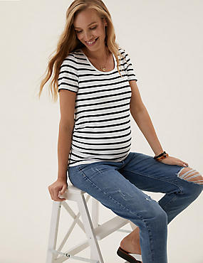 Maternity Cotton Striped Crew Neck T-Shirt