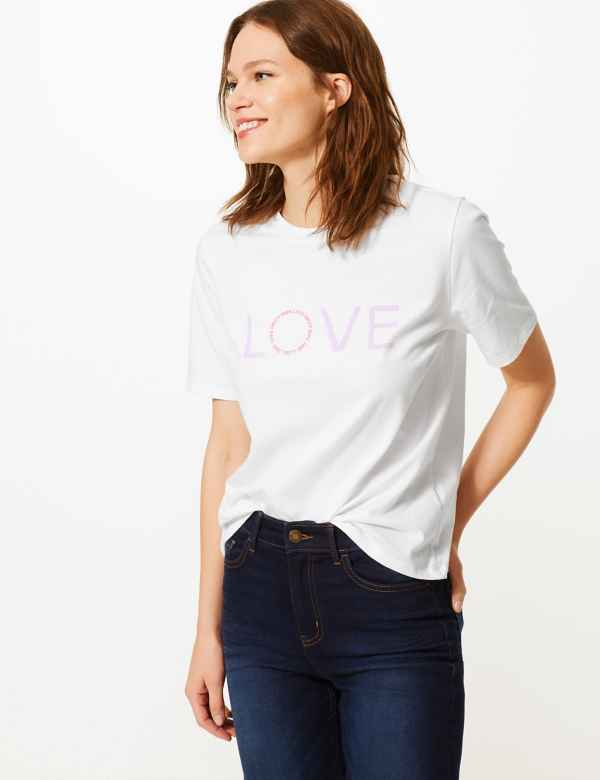 aa731dba04 Fashion Targets Slogan Cotton T-Shirt