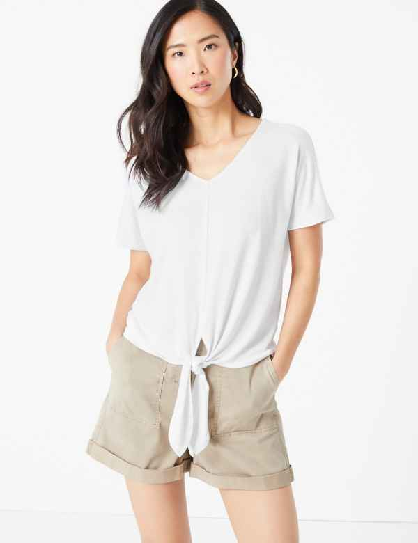 clp60440544: Touch V-Neck Relaxed Tie Hem Top