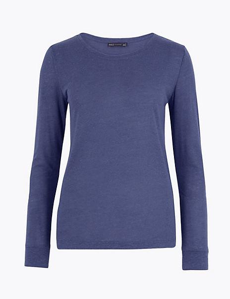 Linen Blend Regular Fit T-Shirt