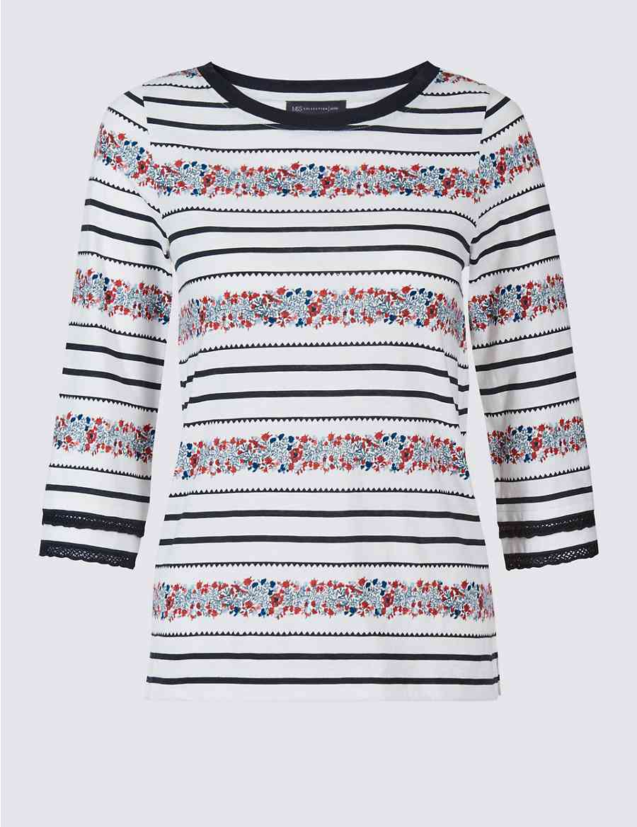 5f9b82a4be4 PETITE Pure Cotton Floral Striped T-Shirt