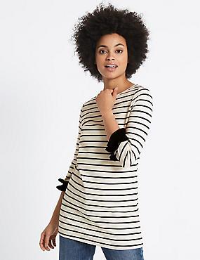Cotton Rich Striped Ruffle Cuff Tunic
