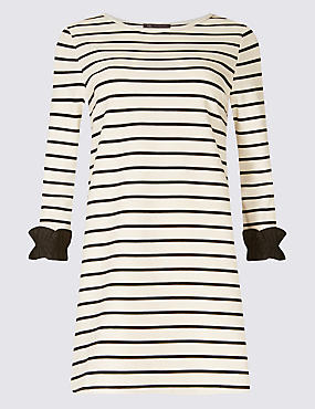 Cotton Rich Striped Ruffle Cuff Tunic