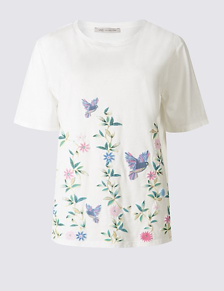 Modal Blend Puff Print Short Sleeve T-Shirt