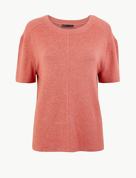 Marl Relaxed Fit Short Sleeve Top