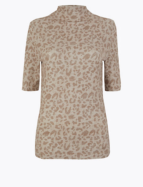 Leopard Print Cosy Fitted Top
