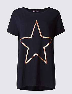 Modal Blend Star Print Short Sleeve T-Shirt