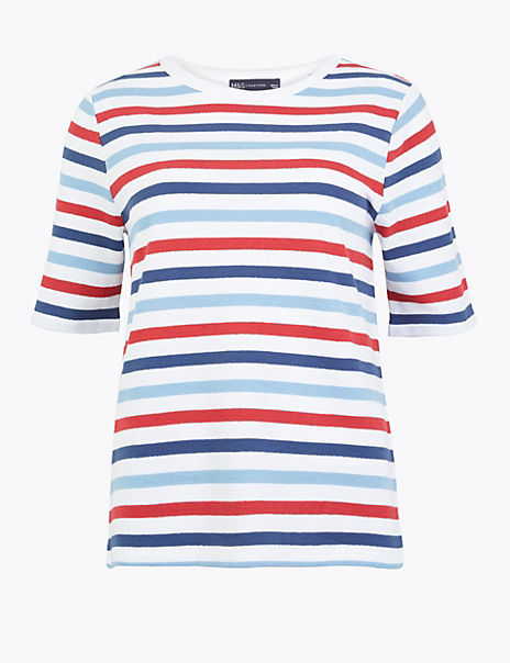 Pure Cotton Striped Short Sleeve Top
