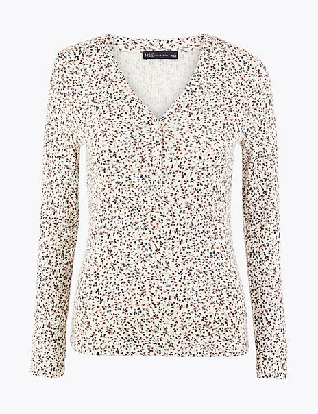 Floral Fitted Long Sleeve Top