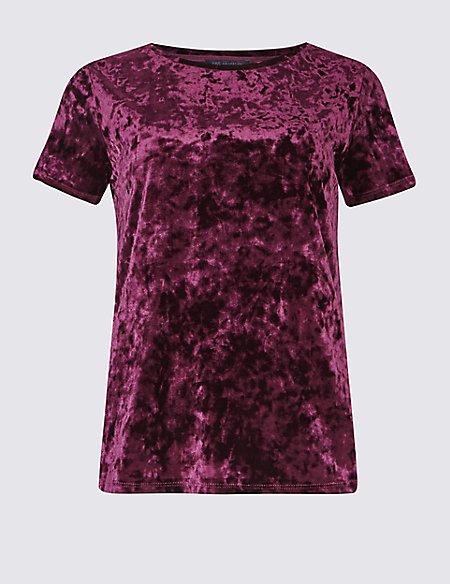 Velour Round Neck Short Sleeve T-Shirt