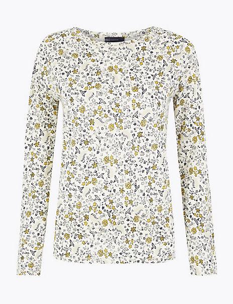 Pure Cotton Raglan Print Regular Fit T-Shirt