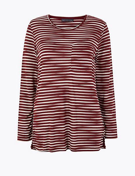 Striped Longline Long Sleeve Top