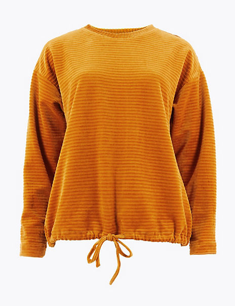 Cotton Rich Velour Textured Sweatshirt