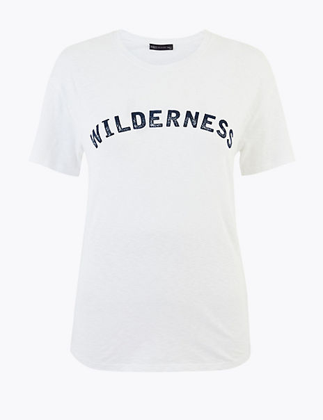 Pure Cotton Wilderness Straight Fit T-Shirt