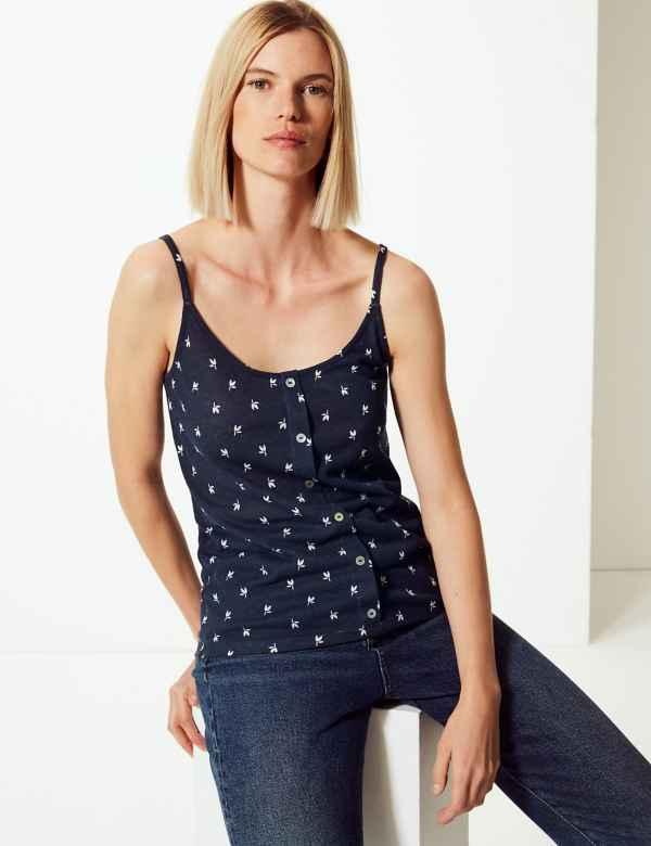 3216b43e159bee Linen Blend Floral Print Camisole Top