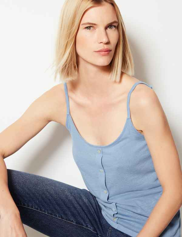 f12c55a79 Linen Blend Button Detailed Camisole Top