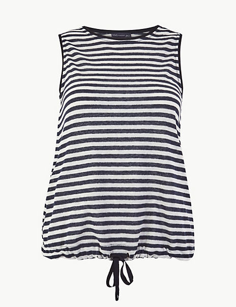 Linen Blend Striped Regular Fit Vest Top