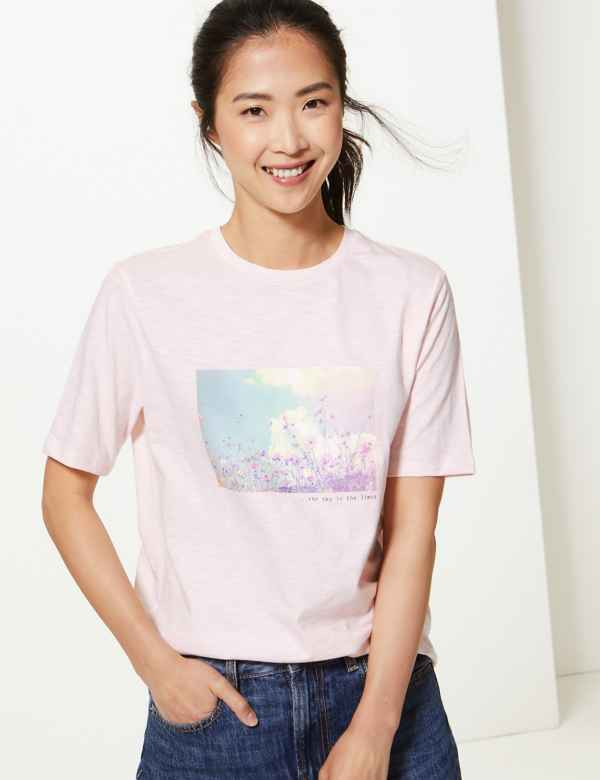 730a042d Pure Cotton Printed Straight Fit T-Shirt