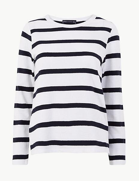 Pure Cotton Striped Regular Fit Sweatshirt