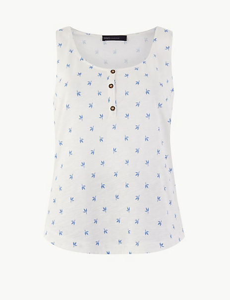 Pure Cotton Floral Relaxed Fit Vest Top