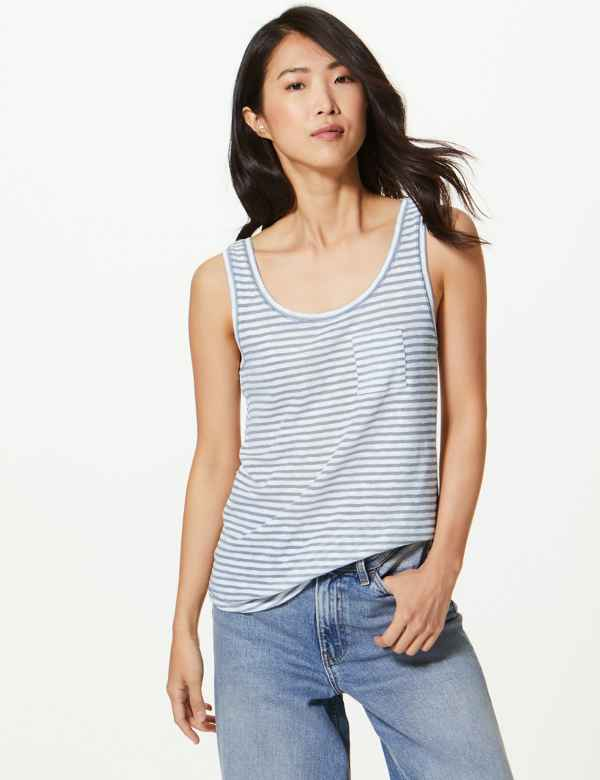 bb268e8ec137a8 Cotton Rich Striped Relaxed Fit Vest Top. M&S Collection